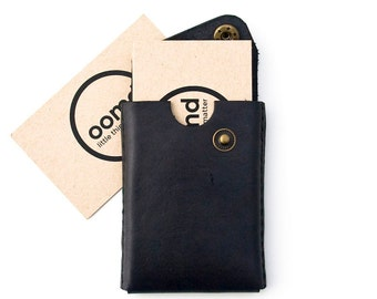 Minimalist Leather Card Case - The 'Card trick' - Hand Dyed Black - Hand Stitched - FREE SHIPPING