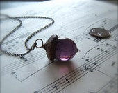 Mini Glass Acorn Necklace in Amethyst by Bullseyebeads  READY TO SHIP