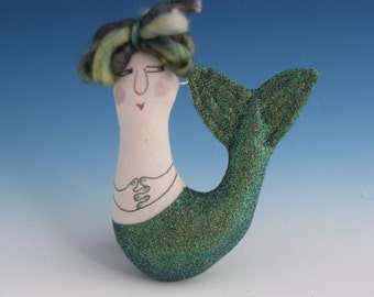 Art Doll, Fiber Art Dolls, Fiber Art mermaid Dolls, Mermaid Dolls, Mermaid Ornament