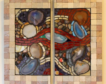 Stained Glass, Mosaic, Abstract, Contemporary, Agates, Nature, Diptych