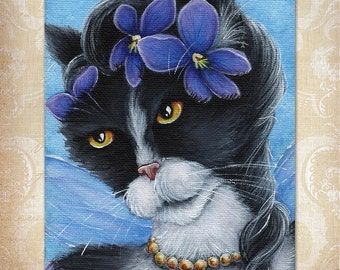 Violet Fairy Cat Flower Fantasy Art 8x10 Fine Art Reproduction Print