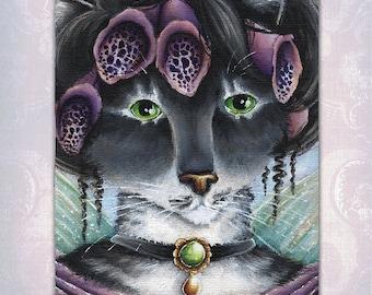 Foxglove Fairy Cat Fantasy Art, 8x10 Fine Art Print CLEARANCE