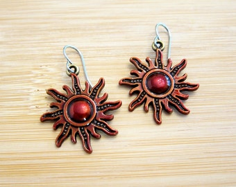 Starburst Sun Charm Earrings Hand Painted Crimson Red