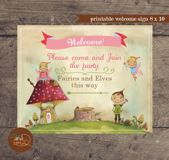 Printable Welcome Home Sign: Printable WELCOME SIGN For Woodland Fairies And Elves By
