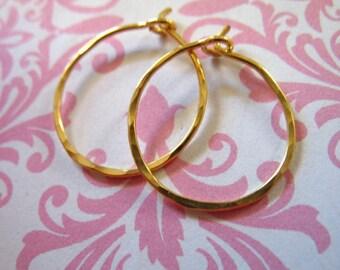 "Shop Sale.. 24k Gold Vermeil Hoops Earrings Earwires, Hammered Hoops, 35 mm, 1 1/2 inches, 1.5"" Artisan, add a dangles interchangeable ihm,h"