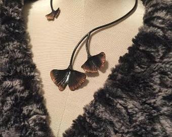 3 Textured Ginko Leaf - Collar