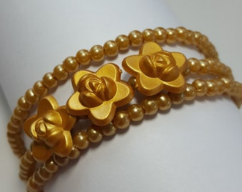 Gold rose beaded memory wire bracelet for young girl