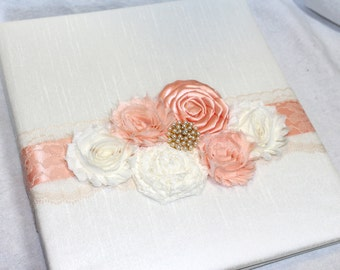 GUEST BOOK, Peach Guest Book, wedding Guest Book, Ivory Silk Guest Book, Photo Book, Custom, Peach and Gold Wedding, Lace, Custom Colors