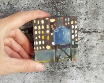 urban painting night  new york water tower landscape small painting cityscape gift art USA