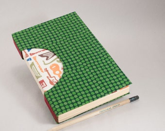 Hand-Bound Journal, Notebook, Sketchbook or Guestbook with Musical End Papers and a Jazzy Green Polkadot Fabric Cover