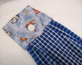 Hanging kitchen towel  button top towel Cats with blue check towel
