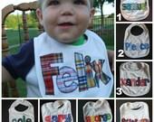 Personalized Baby Bib Appliqued//Baby Boy Bib//Baby Shower Gift//Baby Name Announcement//Drool Bib//baby boy gift//newborn//custom made