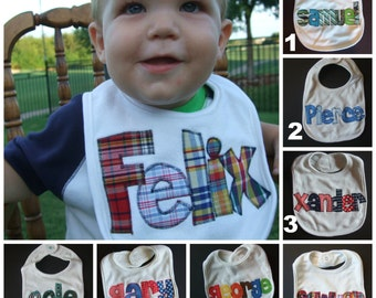Personalized Baby Bib Appliqued//Baby Boy Bib//Baby Shower Gift//Baby Name Announcement//Drool Bib//baby boy gift//newborn//custom made