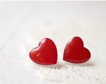 Red Heart earrings - Heart jewelry - Valentines jewelry - Valentines Day gift - For her (E014)