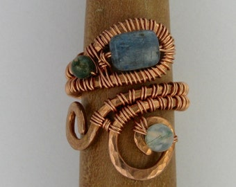 Blue kyanite and jasper wire wrapped copper adjustable ring DTPD