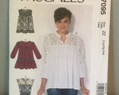 McCalls Sewing Pattern M7095 Misses Pullover Tops Size ZZ Large XLarge XXLarge