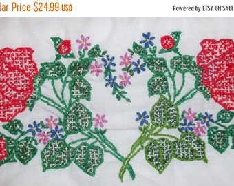 ON SALE Vintage Red Roses Set Standard Pillowcases Embroidered Floral Cottage