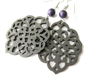 Dark Brown Diamond Filigree and Purple Stone Earrings