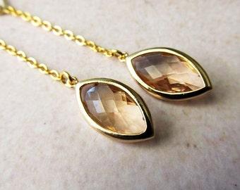 Marquee Champagne Glass Jewel Long Drop Earrings . Modern Minimalist