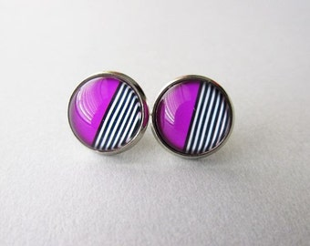 Modern Minimalist Geometric Purple Stripe Stud Earrings