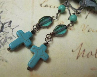 Cross Earrings with Glass and Round Bead Accents, Turquoise/Blue