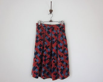 60s velveteen jewel tone print pleated fitted waist skirt (xs - s)
