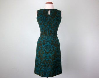 60s tapestry print jewel toned blue & green linen wiggle fitted sheath dress (xs - s)