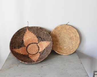 vintage woven baskets / large wall baskets