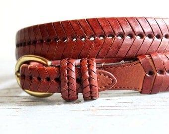 vintage FISHTAIL braid leather belt with Brass Buckle