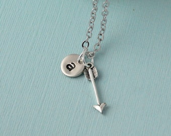 Arrow Necklace, Personalized Arrow necklace, Initial necklace