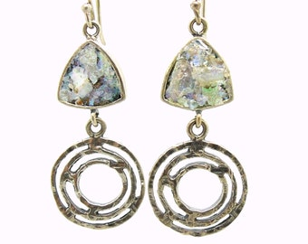 Silver earrings with roman glass triangle and circles