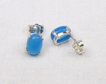 Blue Agate Sterling Silver Earrings - 8MM x 6MM - Stud - Genuine Gemstones - Cabochon - Gift - Sterling Setting