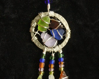 Dreamcatcher Sea Glass Pendant and Necklace In Colors of the Sea, Native American Necklace
