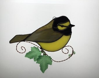 Hooded Warbler Suncatcher in Stained Glass