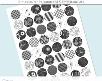 Black and White Dark Grey Digital Collage Sheet Circle 30mm 25mm 20mm Download Sheets for Glass Pendants Cuff Links Round