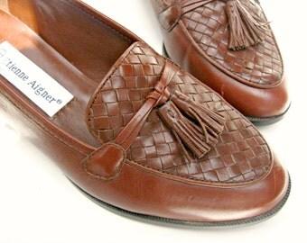 "Vintage Etienne Aigner flat leather loafers, ""Ally"", tassels, woven,, chestnut, brown, Brazil, US 5 1/5 M, (EU 36, UK 3.5), like new."