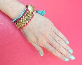 Brass and Beaded Cuff with Tassel - Handmade Gypsy Bracelet Jewelry