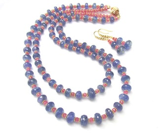 Faceted TANZANITE and Pink Sapphire Double Strand Necklace with Matching earrings - Natural Gemstones and 14k gf Bead Handmade Jewelry