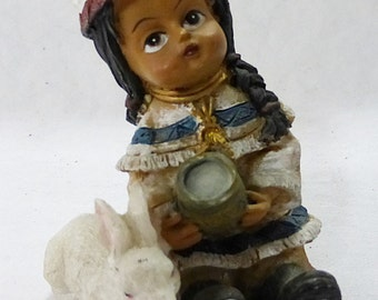 Indian girl child figurine traditional gala and white rabbit bunny polymer