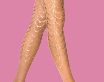 Gold tights Cabaret, available in S-M L-XL XXXL, bridesmaids, gift for her