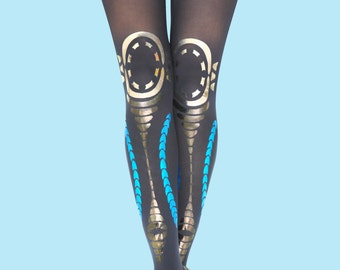 Printed tights, navy opaque tights, Tribal print