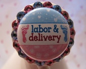 Labor and Delivery ID Badge Holder, Retractable ID Badge Reel, L&D Nurse ID Badge Holder with Pacifier and Swarovski Elements