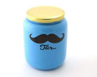 Funny Novelty Gag gift, stache jar, stash jar, moustache, mustache, fully functional ceramic jar with lid, home and living
