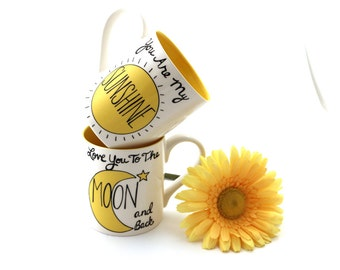 You are my sunshine, Love you to the moon, mug set  gift for couple, mr and mrs mugs, can be personalized