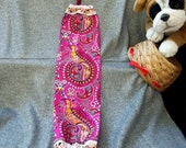 Plastic Bag Holder Sock, Bohemian Paisley Fuchsia Print