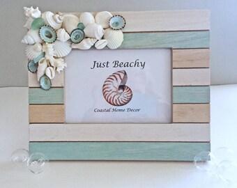 BEACH DECOR PHOTO frame, seashells, seaglass, vintage coral, wood frame, seafoam green, stripes, wedding, vacation, nautical, coastal