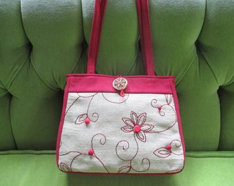 Small Tote in Red Ultra Suede with Khaki and Red Embroidery