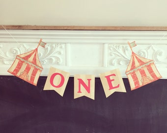 ONE Year Circus High Chair Banner