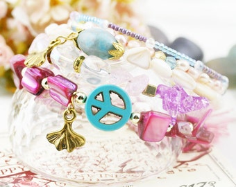 Cotton candy 5 tiers bangle (MW revised version) - freshwater pearls, howlite and jasper
