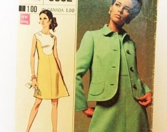 Vintage 1960s, Sewing Pattern, Simplicity 8092, Dress and Jacket, Designer Fashion, Misses' Size 10